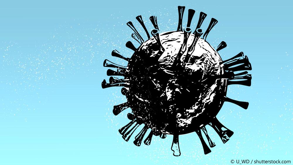 Symbol Coronavirus vor grünblauem Hintergrund